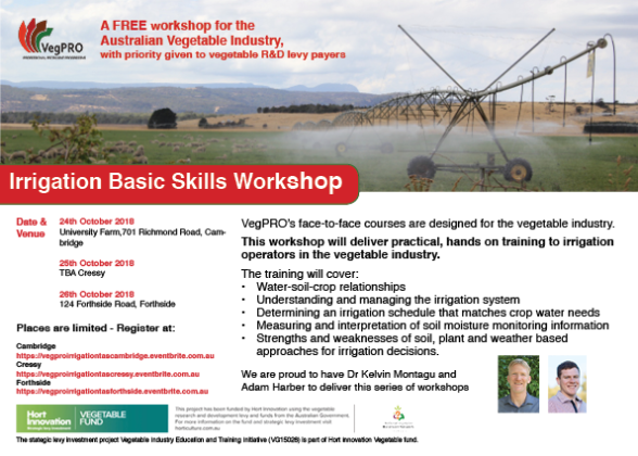 Veg Pro Irrigation Workshops Tas Flyer All Locations 2018 10 01 Sl