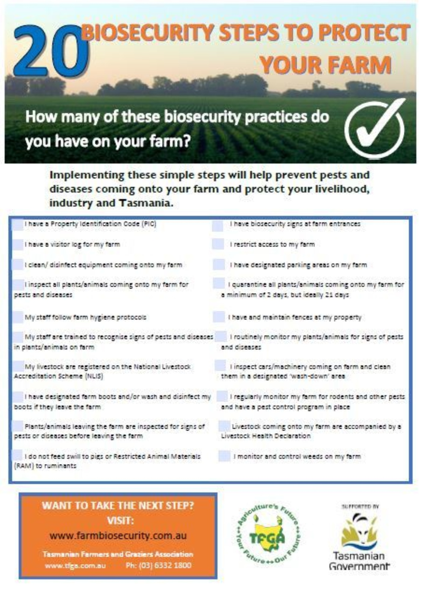 20 Biosecurity Checklist