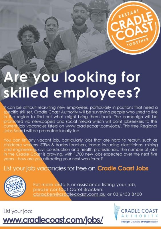 Poster Flyer Brochure Cradle Coast Jobs Board A5